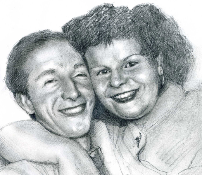 Pencil drawing portrait by John Fraser of Charlie's parents, pencil drawing , portrait