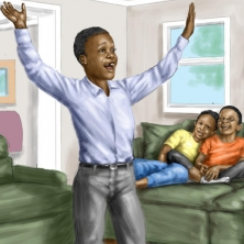digital illustration by John Fraser showing Channing telling his family about his idea to hold a church service in the back yard from the book Prayer answered in the Back Yard, prayer, church, family, brothers and sisters, excitement, inspiration