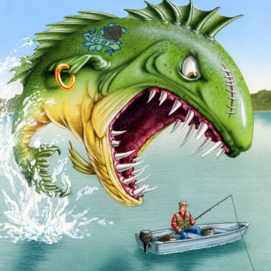 airbrushed illustration by John Fraser of aggressive fish attacking fisherman, fishing, sport fishing, the one that got away, aggressive fish, dangerous fish, fresh water fishing