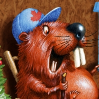 Illustration by John Fraser for Canadian Legion Magazine of Beaver watching TV, beaver, beaver in his dam,