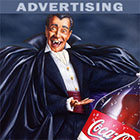 Airbrushed Illustration by John Fraser of Dracula Holding a bottle of Coke for Halloween store poster, Halloween, Coke, Dracula, Dracula's favourite drink, scary, monster, vampire, fangs