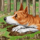 digital illustration by John Fraser of Jip the dog escaping from his backyard from the children's book Progigal Pup by Teach Services , Basenji, purebred dog, dog dogs hole, bad dog