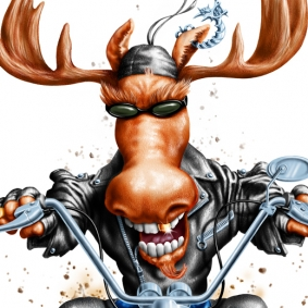 Digital Illustration by John Fraser of moose riding motorcycle for T-shirt for The Great Canadian Bike Rally, moose riding motorcycle, mooseer, leathers, biker moose