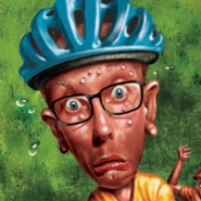 Illustration for Canadian Cycling by John Fraser showing novice cycler obstructing traffic during bike race, anger, frustration, bicycles, character, sweat, article in Canadian Cycling Magazine
