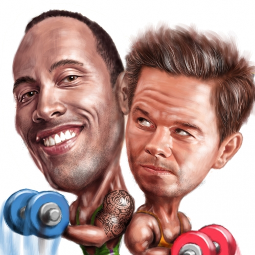 digital caricature of Dwayne Johnson and Mark Wahlberg by John Fraser, Pain and Gain, weightlifting, exercise, muscle building