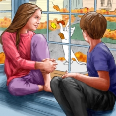 Digital illustration by John Fraser of the children remembering Miles from the book Our Love Lives On For Miles In Heaven by Dr. Amy Sugar from Pawsitive Resouces, pet loss, Fall leaves, window, cat playing, brother and sister, Fall colour