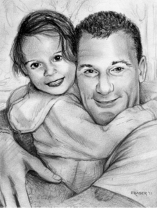 Pencil drawing portrait by John Fraser of Tessa's family