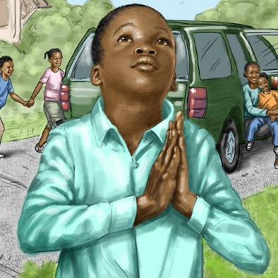 digital illustration by John Fraser of Channing thanking God for the family's new car so they can go to church from the children's book Prayer Answered In The Back Yard, prayer, church, God, belief, children, family